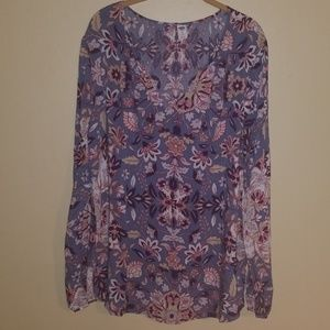 Old Navy Long blousey floral blouse